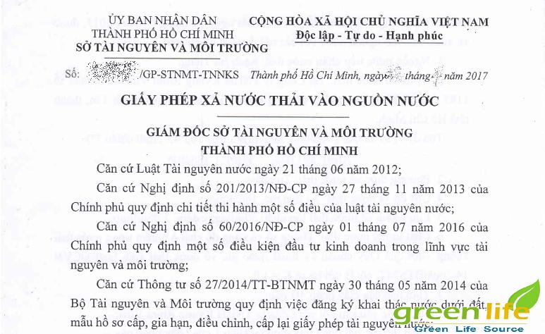 giay phep xa nuoc thai vao nguon nuoc