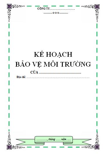 lap ke hoach bao ve moi truong